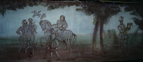 Elizabethan style hunting scene tapestry