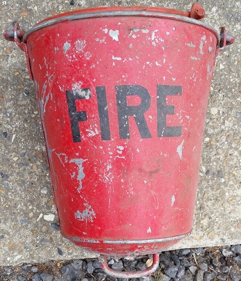 old red fire buckets