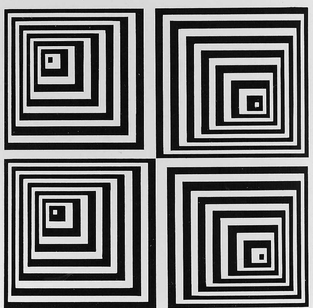 3m x3m op art black and