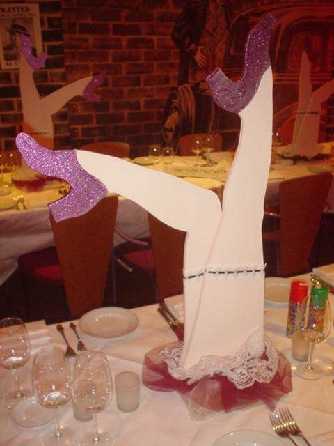 saucy legs table centres