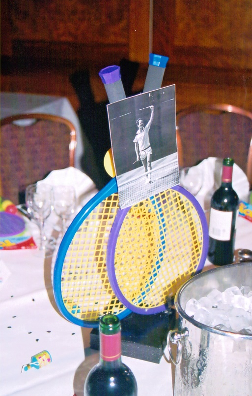 tennis themed table centre