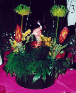 tropical themed table centrepieces