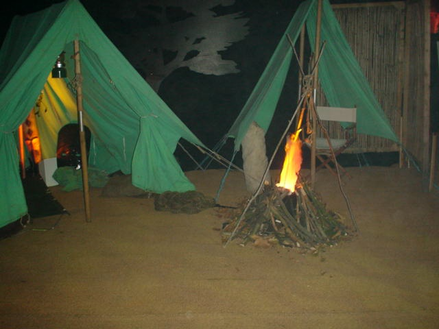 traditional tents and campfire